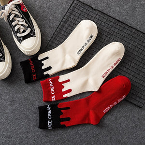 Ice Cream Patterned Skateboarding Socks - White with Black