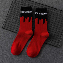 Load image into Gallery viewer, Ice Cream Patterned Skateboarding Socks - Red with Black