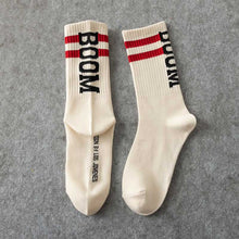 Load image into Gallery viewer, Boom 💥 Socks - Off White with Red Stripes