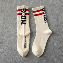 Load image into Gallery viewer, Boom 💥 Socks - Blue with Red Stripes