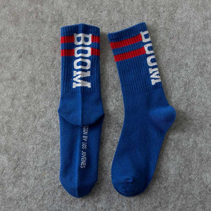 Boom 💥 Socks - Blue with Red Stripes