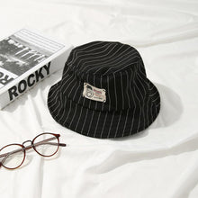 Load image into Gallery viewer, Casual Black Bucket Hat with White Pinstripe - 6 Colours