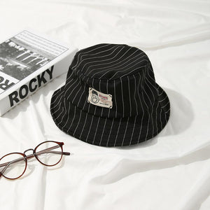 Casual Black Bucket Hat with White Pinstripe - 6 Colours