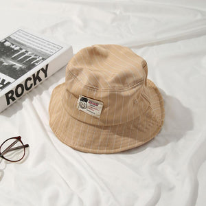 Casual Beige Bucket Hat with White Pinstripe - 6 Colours