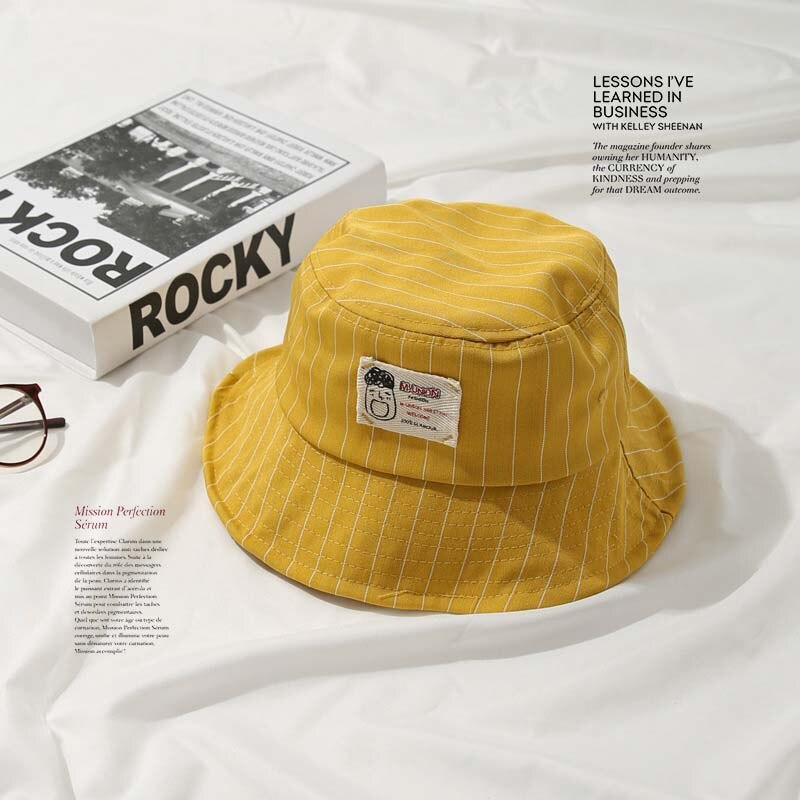 Casual Yellow Bucket Hat with White Pinstripe - 6 Colours