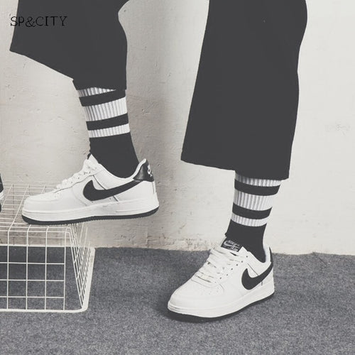 Men's Black & White Striped Skateboarder Socks - 2 Designs