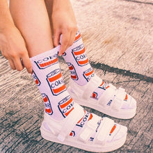 Load image into Gallery viewer, Coke Can Skateboarder Socks - Coke White