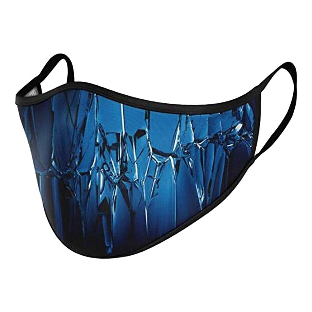 Floral & Tonal Mouth Masks – Blue Smashed Glass