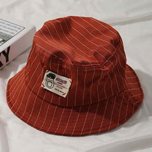Load image into Gallery viewer, Casual Pinstripe Bucket Hat - Red-Tan