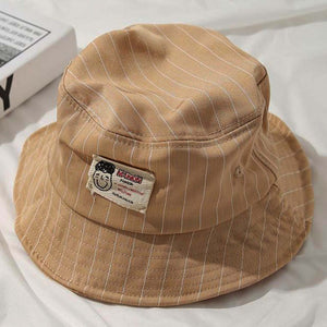 Casual Pinstripe Bucket Hat - Yellow