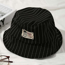 Load image into Gallery viewer, Casual Pinstripe Bucket Hat - Black