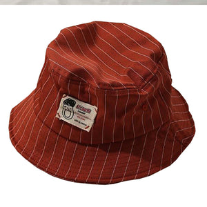 Casual Pinstripe Bucket Hat - Black