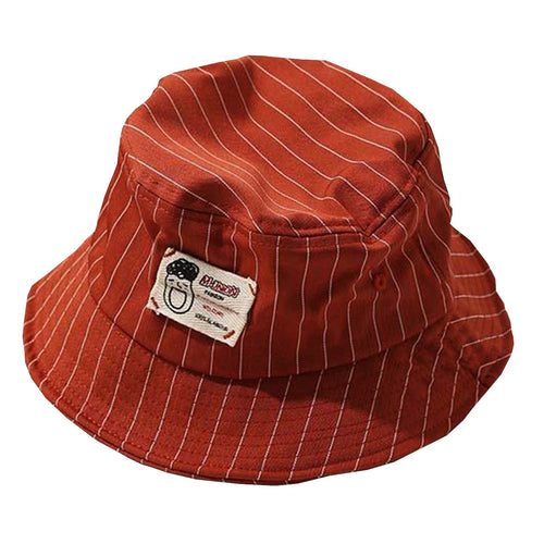 Casual Pinstripe Bucket Hat - Red-Tan