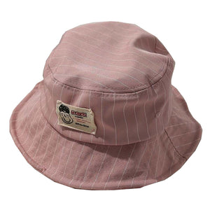 Casual Pinstripe Bucket Hat - Red