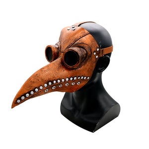 Medieval Steampunk Plague Doctor Mask with Birdlike Beak! Version 1 - Tan Brown