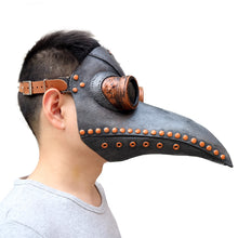 Load image into Gallery viewer, Medieval Steampunk Plague Doctor Mask with Birdlike Beak!  Death's Door - Coal Black
