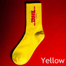 Load image into Gallery viewer, DHL Courier Socks 🔌 - Yellow with Red Text