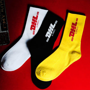DHL Courier Socks 🔌 - Yellow with Red Text