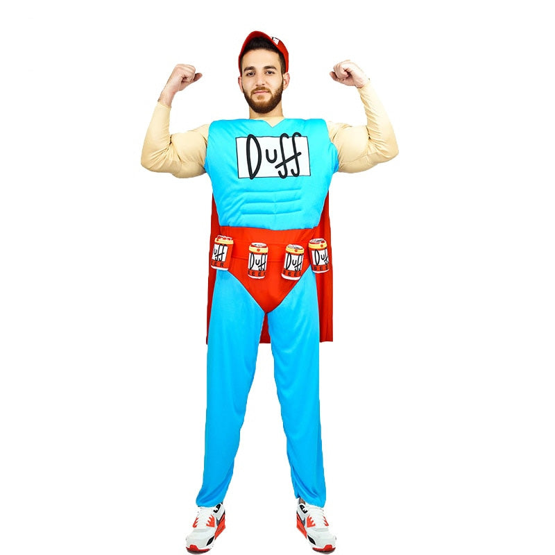 Adult Men's Duffman Muscle Suit Costume