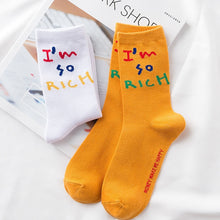 Load image into Gallery viewer, I'm So Rich Sock Design - White