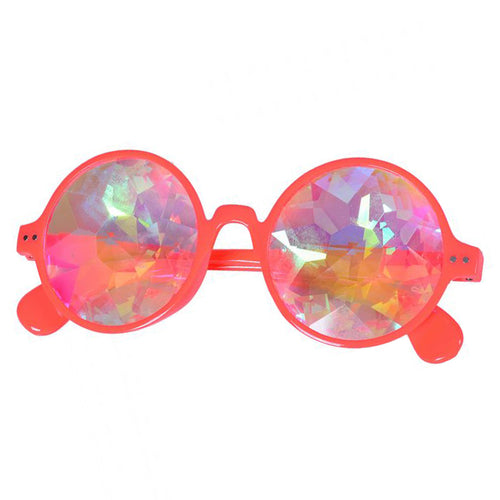 Neon Orange Round Frame Kaleidoscope Glasses