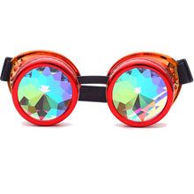 Load image into Gallery viewer, Red & Orange Fusion Goggles with Rainbow Kaleidoscope Lenses