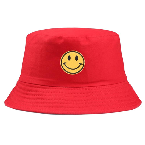 Yellow Smiley Face Bucket Hat - Red