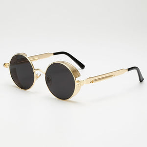 Steaming - Men's Steampunk Party Sunglasses - Gold Frames + Pink Lenses