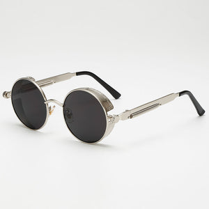Steaming - Men's Steampunk Party Sunglasses - Silver Frames + Blue Lenses