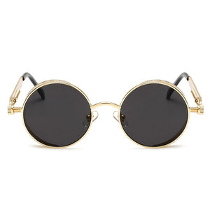 Steaming - Men's Steampunk Party Sunglasses - Gold Frames + Black Lenses