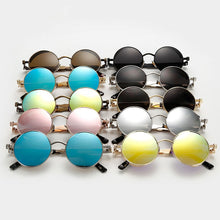 Load image into Gallery viewer, Steaming - Men's Steampunk Party Sunglasses - Silver Frames + Blue Lenses