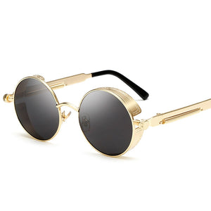 Steaming - Men's Steampunk Party Sunglasses - Black Frames + Black Lenses