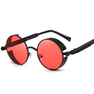 Steaming - Men's Steampunk Party Sunglasses - Black Frames + Red Lenses