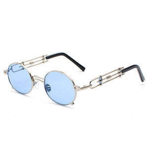 Smokey - Men's Vintage Sunglasses - Silver Frame + Blue Lenses
