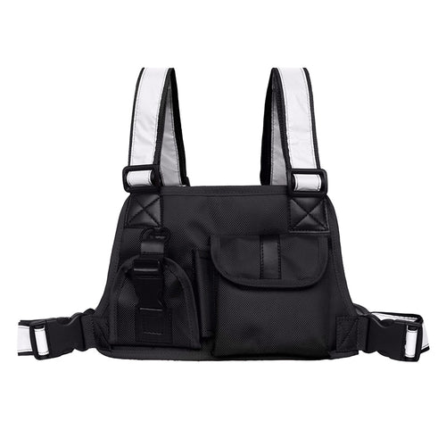 Black Chest Rig Bag with Reflective Straps - Night Vision (Black and Red Designs)