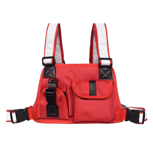 Red Chest Rig Bag with Reflective Straps - Night Vision (Red & Black Designs)