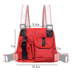 Men's Chest Rig Bag with Reflective Straps - Night Vision (Black and Red Designs)