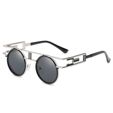 Dapper Don - Vintage Round Men's Sunglasses - Silver Frames + Black Lenses