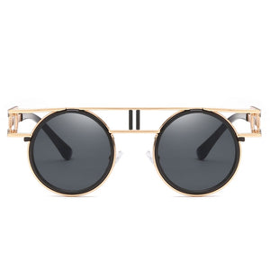 Dapper Don - Vintage Round Men's Sunglasses - Gold Frames + Tan Lenses