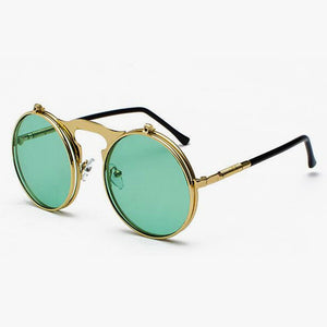 Flip The Script - Sunglasses With Flip Frames - Silver Frames + Blue Lenses