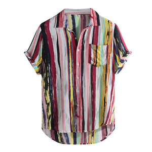 Artistic Vertically Striped Shirt- Pink Highlight