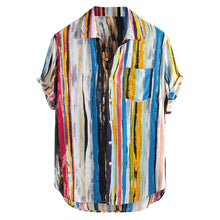 Load image into Gallery viewer, Artistic Vertically Striped Shirt- Blue Highlight