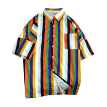 Load image into Gallery viewer, Men's Grey Multicolour Striped Beach Top