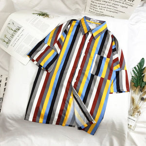 Men's Grey Multicolour Striped Beach Top