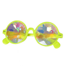 Load image into Gallery viewer, Neon Yellow Round Frame Kaleidoscope Glasses