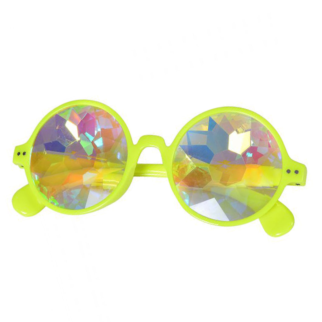 Neon Yellow Round Frame Kaleidoscope Glasses