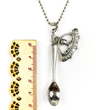 Load image into Gallery viewer, Alien Pendant & Tea Spoon on Silver Ball Chain / Necklace 24""