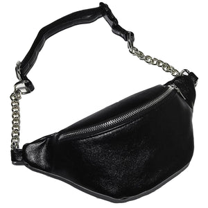 Leather Look Waist Bag ft. Silver Chain & Zipper - All Colours (2)