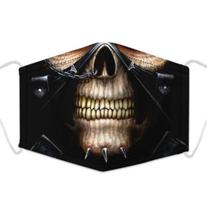 Artistic Mouth Masks with Air Filter - Biker Skeleton