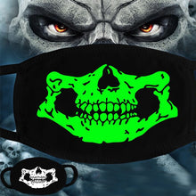 Load image into Gallery viewer, Black & Neon Green Skull & Teeth Snoods - All Designs (4)